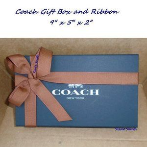"COACH MAGNETIC GIFT BOX AND RIBBON - 9"" X 5"" X 2"""